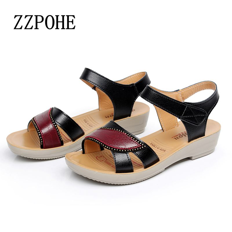 3e808fb05 2017 summer new fashion sandals slope with middle aged non slip flat  comfortable old shoes large size women shoes free shipping-in Women's  Sandals from ...