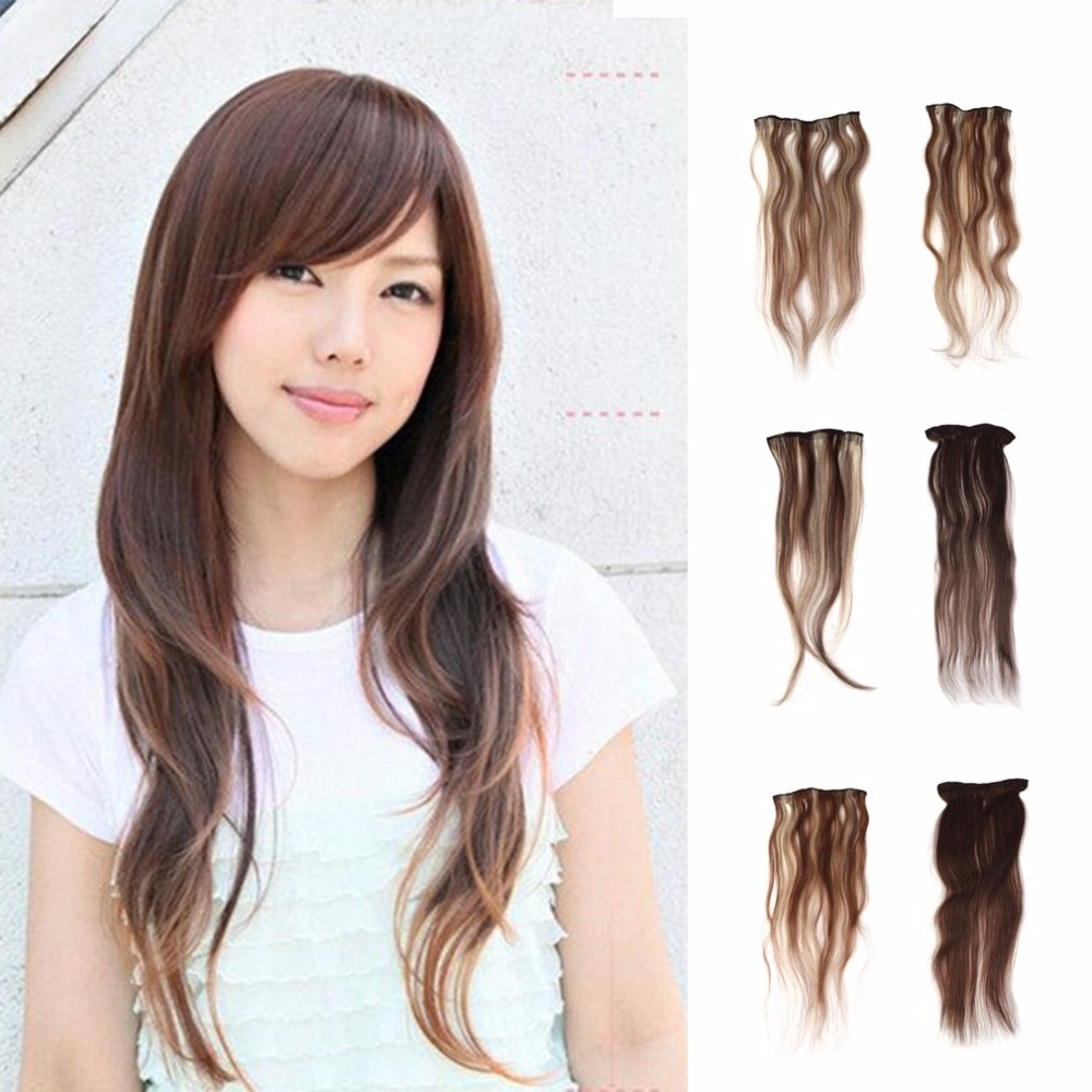 Women Clip In 100% Human Hair Long Hair Extensions Wig