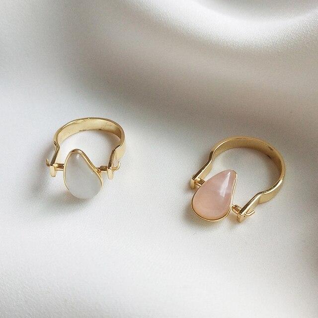 925 Sterling Zilver Natuurlijke Edelsteen Gold Teardrop Roze Rozenkwarts Halfedelsteen Ringen Amerikaanse Maat 8 #