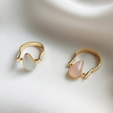 Anel de pedra preciosa 925 prata esterlina, ouro teardrop rosa quartzo semi precioso tamanho us 8 #