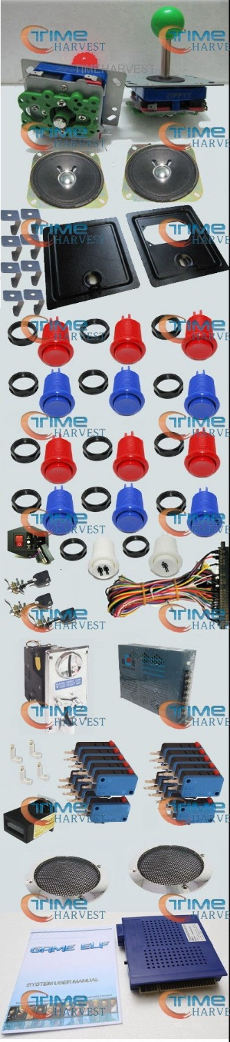 Arcade Parts Bundles Kit Set With 412 in 1 Board Power Supply Joystick Push button Microswitch Harness Glass Clips coin door etc arcade parts bundles kits with joystick push button microswitch coin door jamma harness to build up arcade machine by yourself