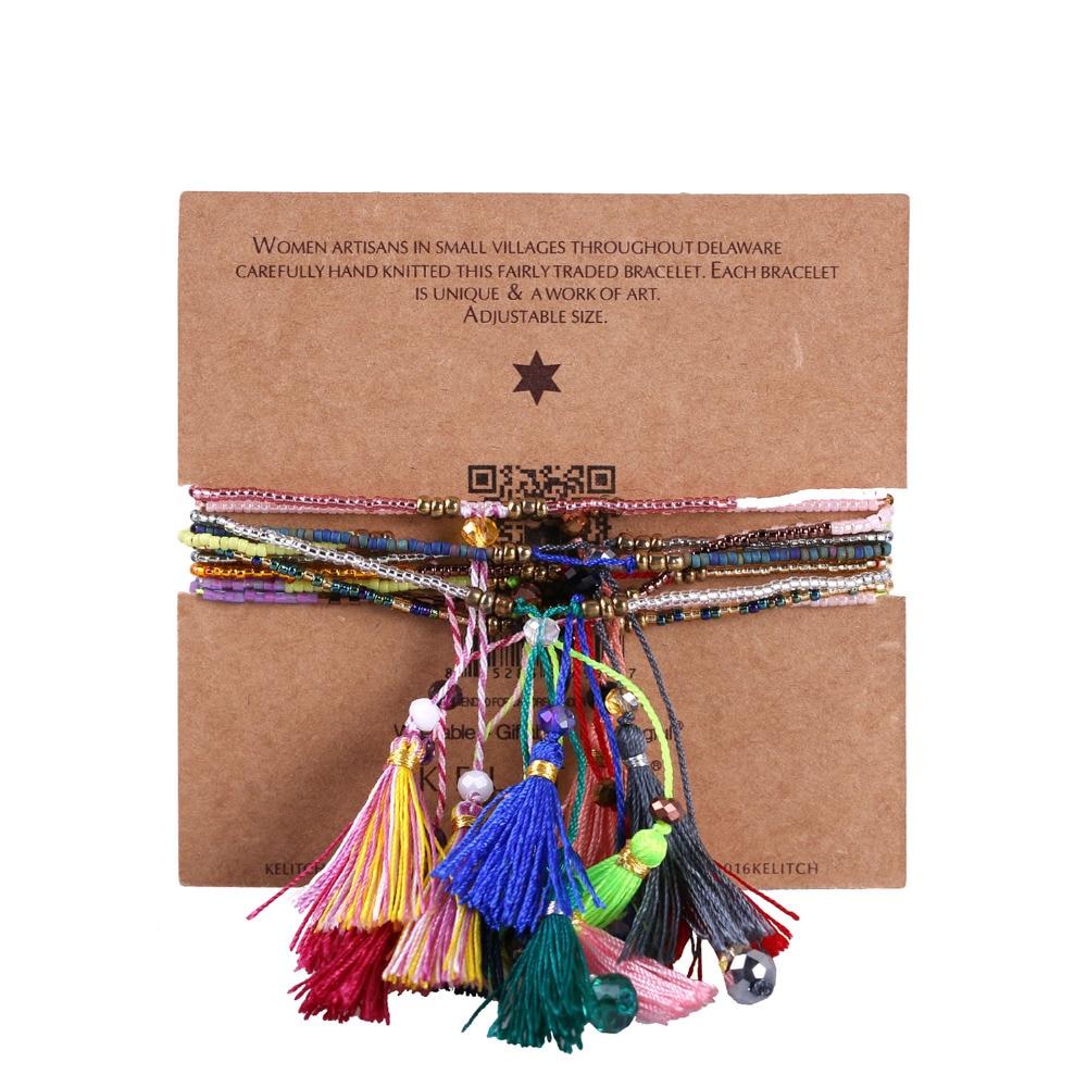 KELITCH 10Pcs Multicolor tassel Seed Beaded Bracelets Handmade Friendship Bracelets Bohemia Strand Bradelet For gifts 6