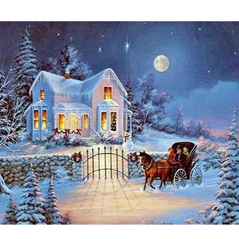 Christmas card, FULL Square Diy Diamond Painting Winter Scenery ...