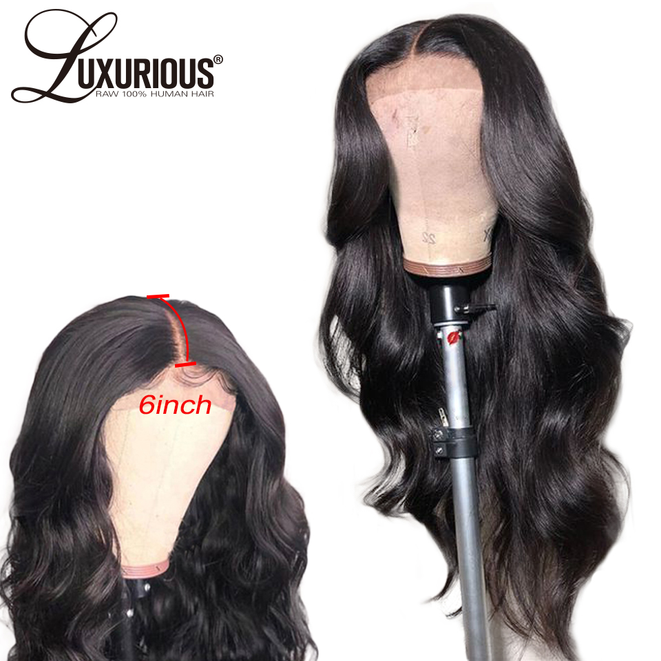 6inch Deep Parting Body Wave Lace Front Human Hair Wigs With Baby Hair Brazilian Remy Hair
