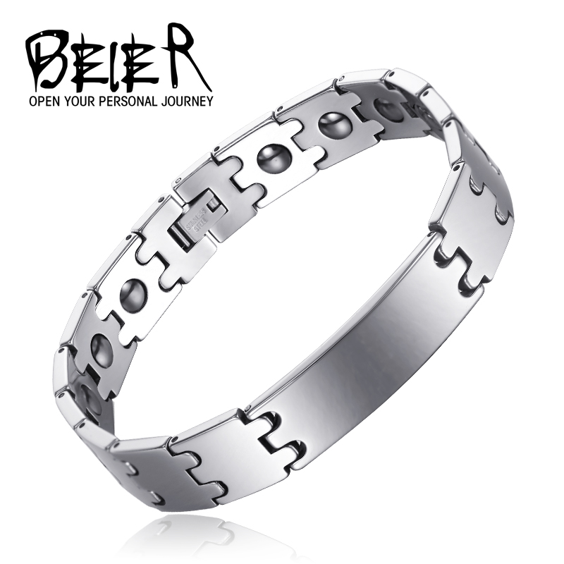 Beier 100% Tungsten Chain Bracelet Bangle Hematite Magnetic Health Care Men and women Lover Jewelry free BC-W008