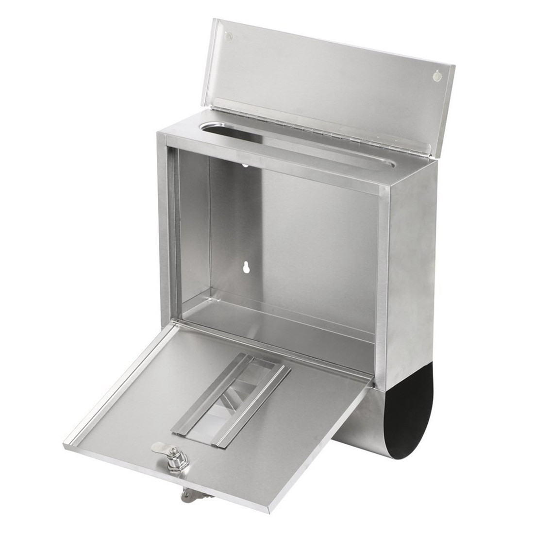 Practical Waterproof Stainless Steel Lockable Mailbox Newspaper Holder Outdoor Mail Post Letter Box