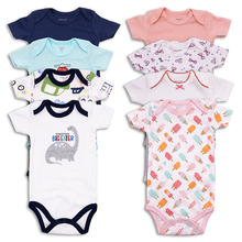 4 pcs/lot Newborn Baby Clothing Cotton  summer Short Sleeve Baby boy Girls Clothes Infant Jumpsuit Body for Babies Baby Bodysuit цена