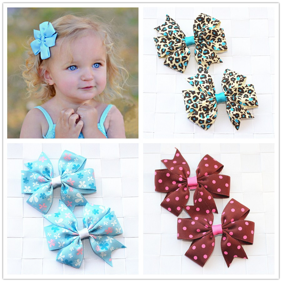 Handmade Flowers Ribbon Bows Baby Girls Kids Hair Clip Pin Accessories For Child Hair Bows Barrette Hairpins Headwear Wholesale baby cute style children accessories hairpins rabbit fur ear kids girls barrette lovely hair clip