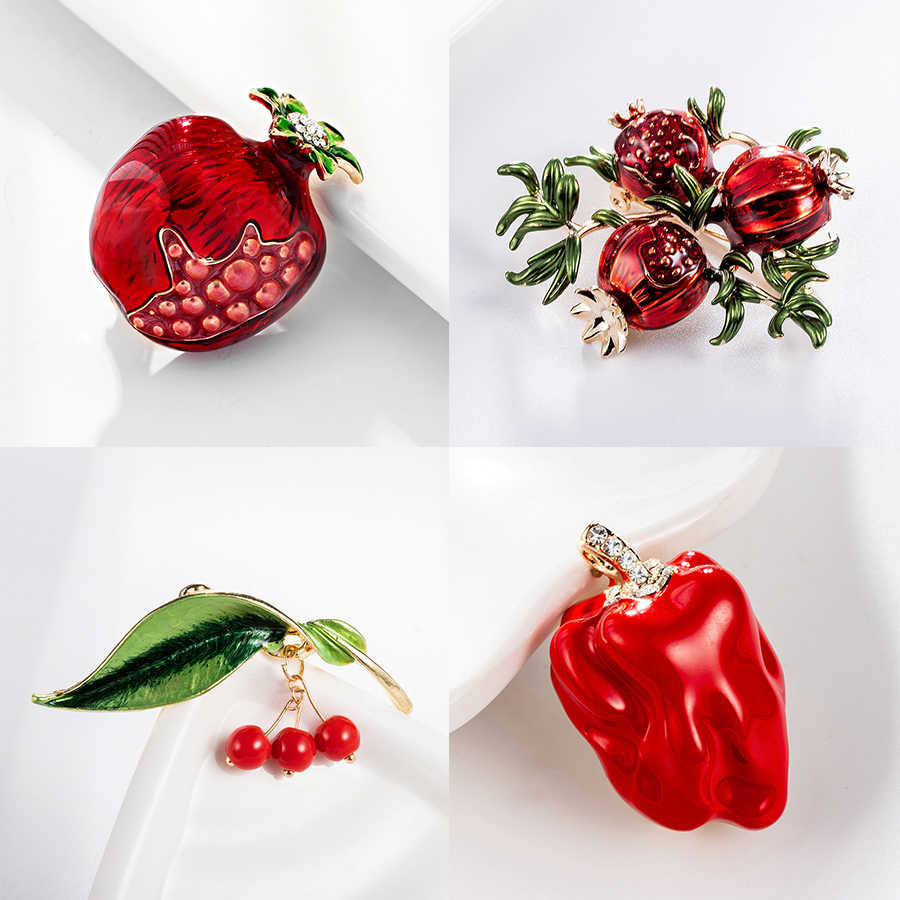 Trendy Enamel Fruit Shape Red Pomegranate Brooch for Women Green Leaf Cherry Brooches Suit Lapel Pin Clothing Scarf Badges