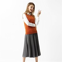 Women Pleated Skirt Autumn Winter Skirt Solid Color Long Elastic Waist Skirts Half length Pencil Skirt Female Long Skirts 1SA19