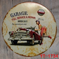New Style Retro Car Motor Round DIA30CM Tin Sign Metal Poster Iron Painting Wall Garage Store
