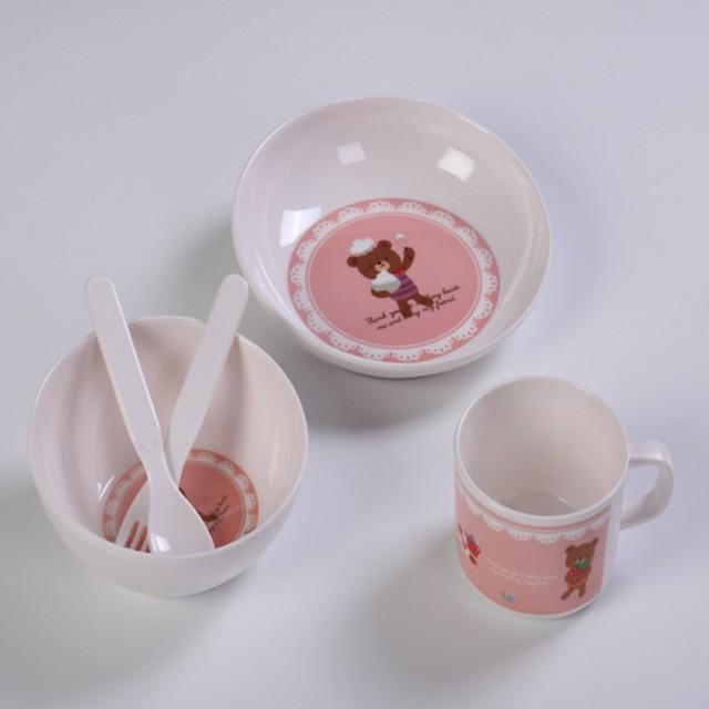 5 placa pçs/set animais do jardim zoológico do bebê arco cup garfos colher dinnerware conjunto de alimentação, melamina Bebê crianças conjunto de talheres