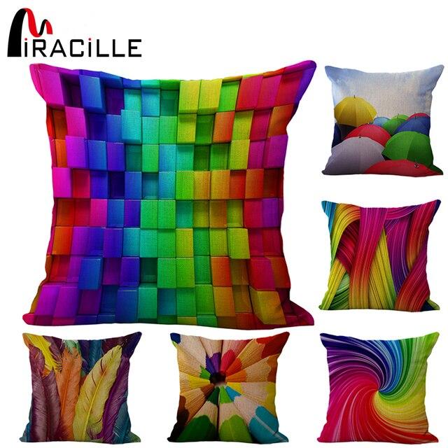Miracille cuadrado Lino mezcla geomtrica colorida silla decorativa