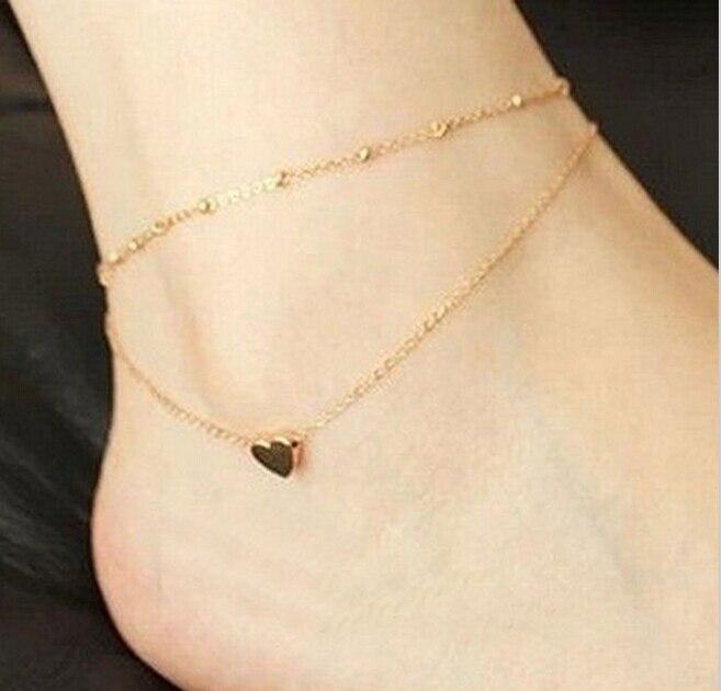 Tornozeleira sexy dourada na altura do tornozelo, bracelete de coração amor com camada dupla, tornozeleira feminina com corrente, joia para os pés, atacado