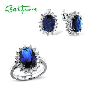 Женский комплект украшений Santuzza, серебряное кольцо с синим кубическим цирконием, серьги из чистого серебра 925 пробы, Модный Ювелирный Набор
