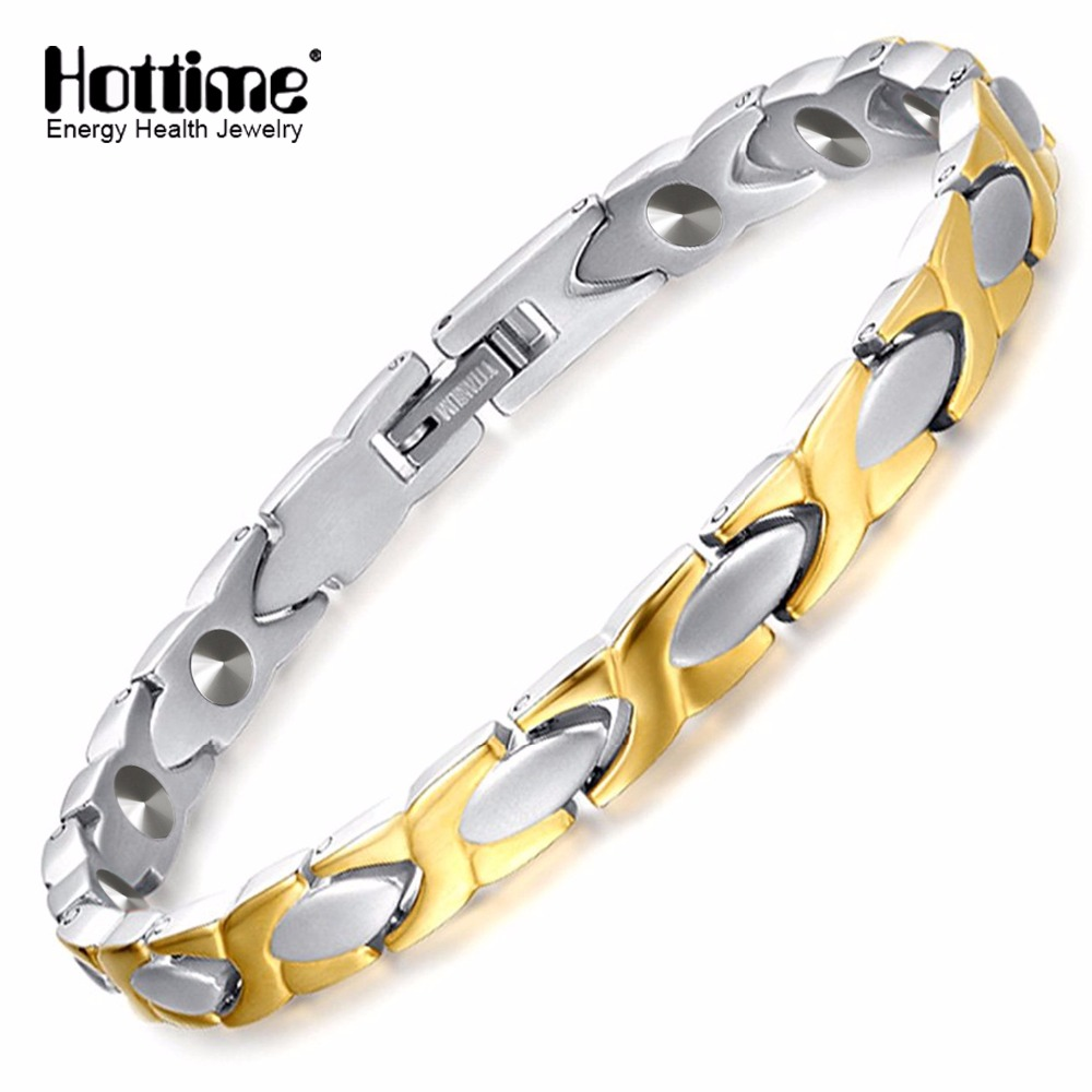 цена Hottime Women's Fashion Health Energy 99.9999% Germanium Bracelet Bangle 316L Stainless Steel Bracelets Titanium Steel Jewelry