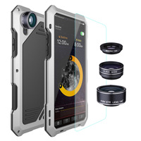 NENG Luxury Camera Lens Kit Dirt Shock Waterproof Case Armor Bag for Samsung S 7 8 9 Plus Heavy Rugged Cover +Tempered Glass