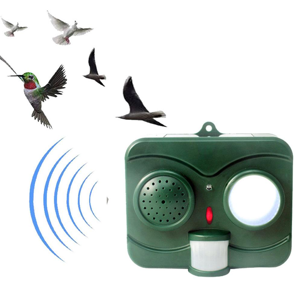 Adeeing Solar-powered Ultrasonic Animal Dispeller With Gun Sound & Sharp Flash Light Dog Cat Bird Repeller Pest Control