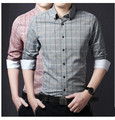 2015 new spring new men's shirt male tide grid Korean cultivating business casual shirt free bag mail