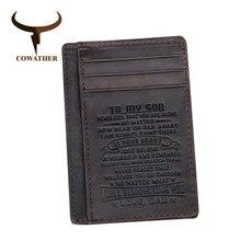 COWATHER наивысшего качества из натуральная кожа держатель для карт кошельки для мужчин бычья кожа Мода Дизайн Мужской кошелек для кредитных карт