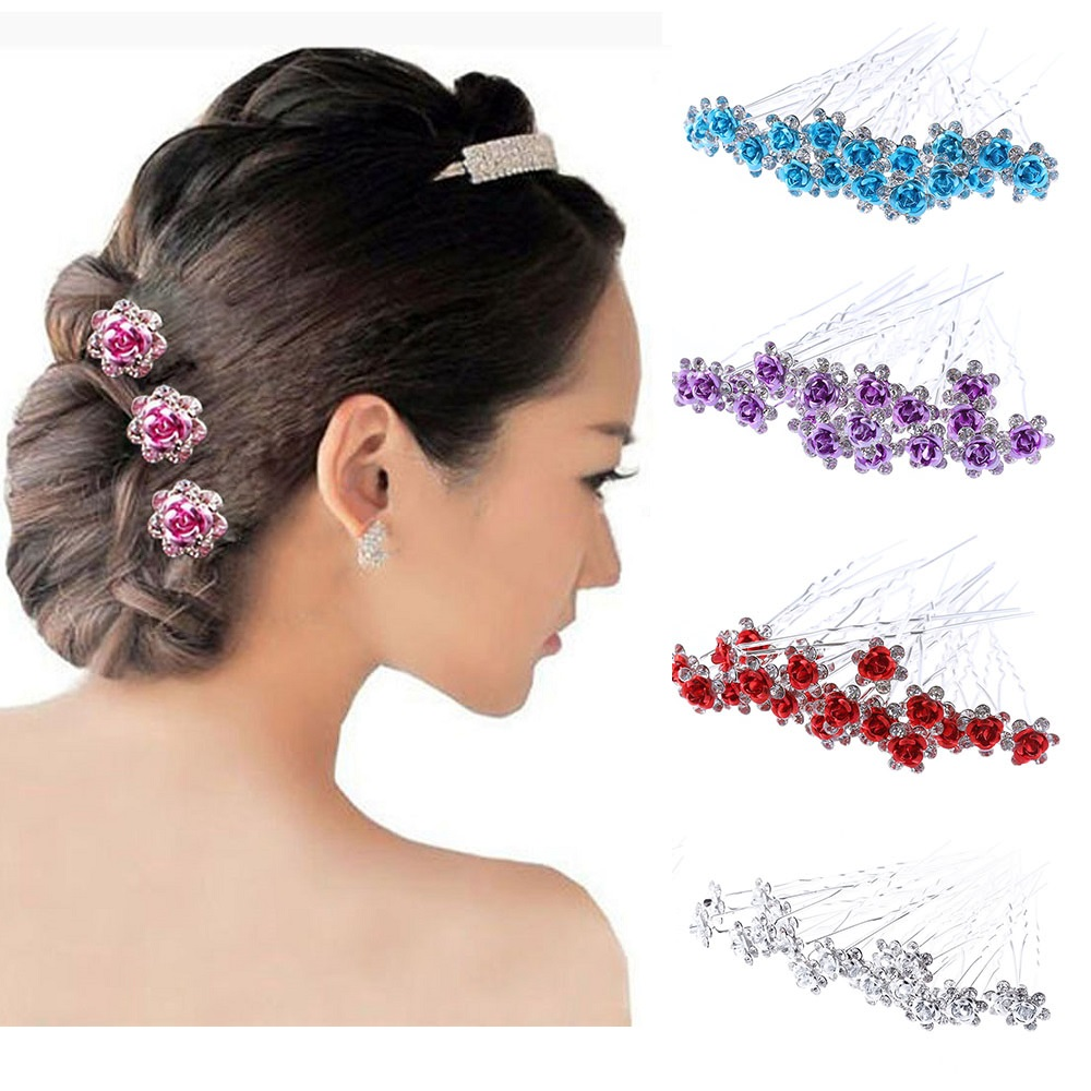 20Pcs/Lot Women Wedding Bridal Hairpins Crystal Rhinestone Rose Flower Hairpin Hair Clips Hair Jewelry Accessories High Quality купить