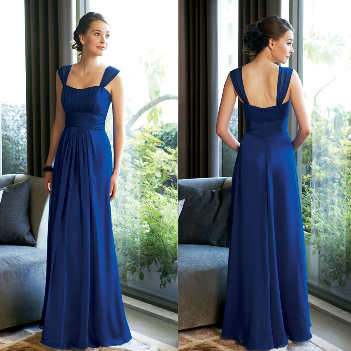 2015 cheap long royal blue bridesmaid dresses plus size for Long blue dress for wedding