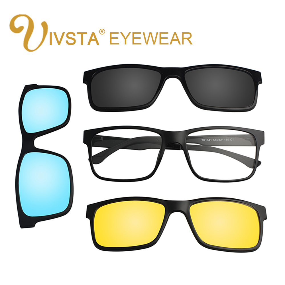 d87331309b3 IVSTA Include Frame Polarized Clip On Sunglasses Men TR90 Custom  prescription lenses Magnetic clips night glasses