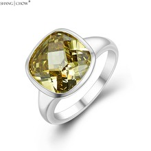 2017 Winter Stunning Jewelry Yellow Citrine Stone 925 Sterling Silver Ring for Women BALL GOWN Lover Gift Accessories R1380