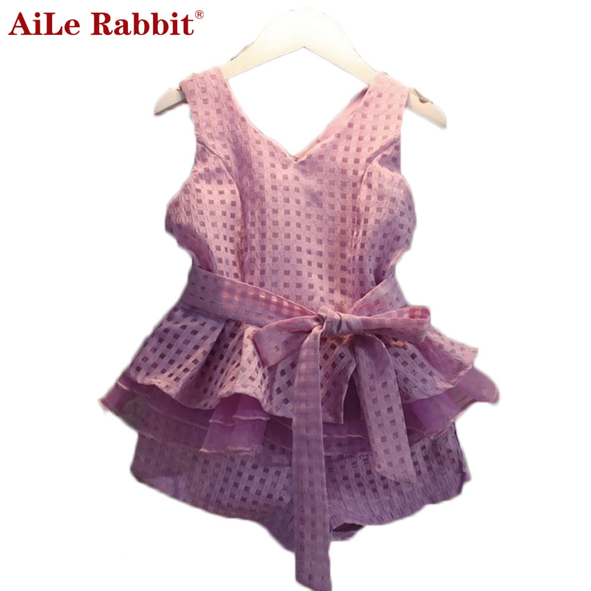 AiLe Rabbit New 2017 Summer Girls Clothing Sets Chiffon Plaid Sleeveless Shirt +shorts Suits Baby Girls Princesas Kids Clothes girls clothing sets 2017 new summer style children clothing baby girl s plaid clothes sets sleeveless plaid shirt shorts 4 9t