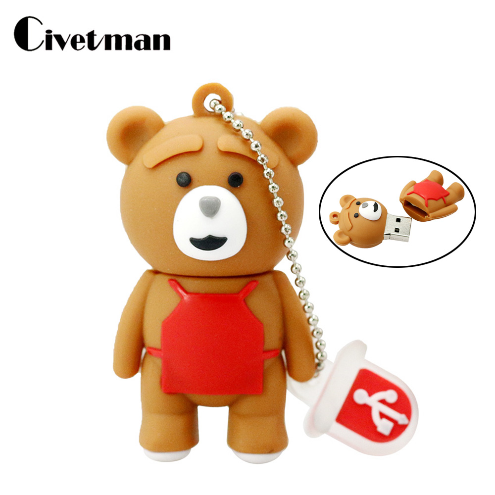 Cartoon Brown Bear Baby Pendrive 4GB 8GB 16GB 32GB 64GB USB Flash Drive Memory Stick USB 2.0 Pen Drive Fashion Gift
