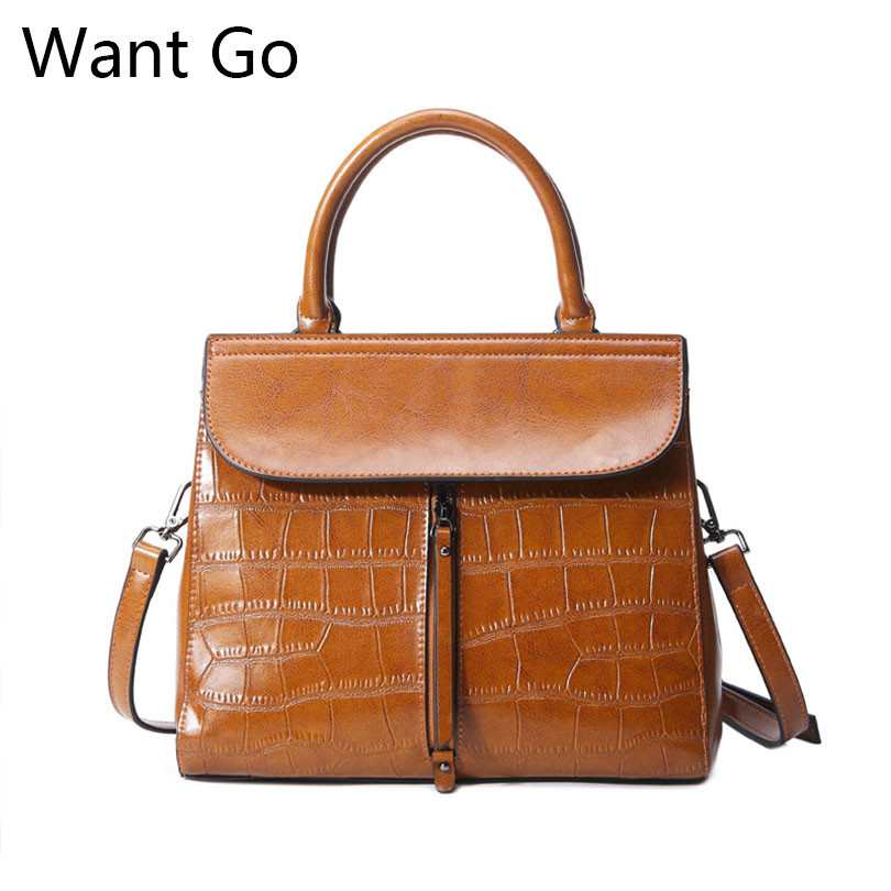 Want Go Women Vintage Leather Handbag Top Quality Genuine Leather Female Tote Handbag Fashion Solid Color