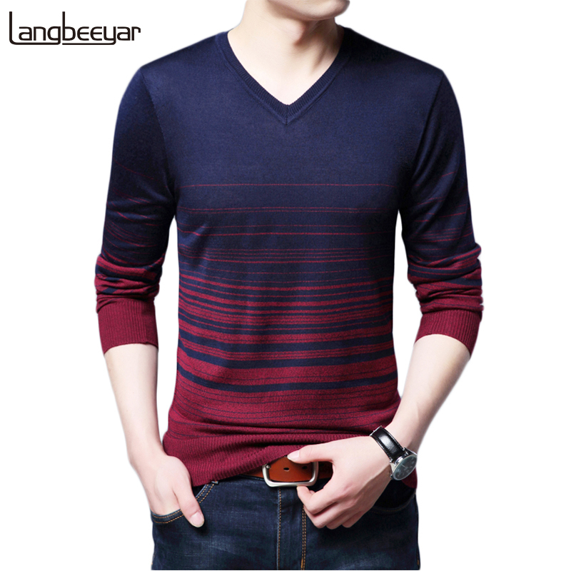 2019 New Autumn Winter Fashion Brand Clothing Men's Sweaters V Neck Slim Fit Men Pullover Gradient Color Knitted Sweater Men
