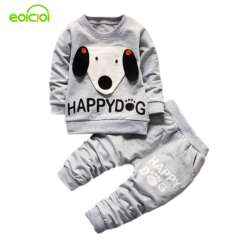 new spring autumn kids clothes 2pcs casual cartoon dog printed children clothing sets jacket coats long