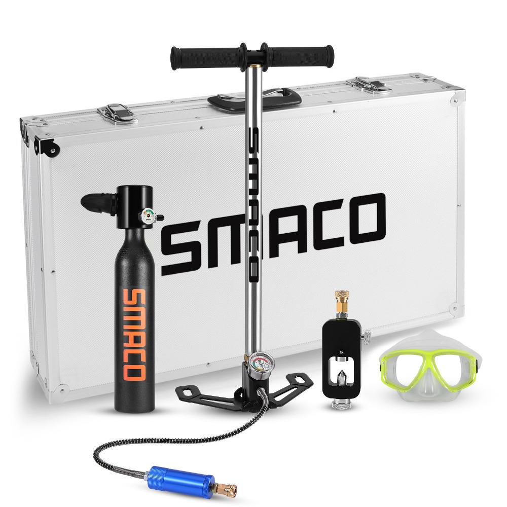 SMACO équipement de plongée bouteille d'oxygène ensemble Mini réservoir de plongée totale liberté respiration sous l'eau pendant 5 à 10 minutes
