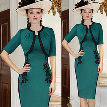 Free Shipping 2016 Vintage Pink/Dark Green O Neck Half Sleeves Bodycon Women Dress Slim Embroidery Sheath Dresses Vestidos 41918