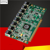 1 to 8 PCIe Miner Machine Graphics Card Extension Cord PCI E 16X turn 8 Port USB3.0 PCIE Expansion Cards Riser Card BTC LTC ETH