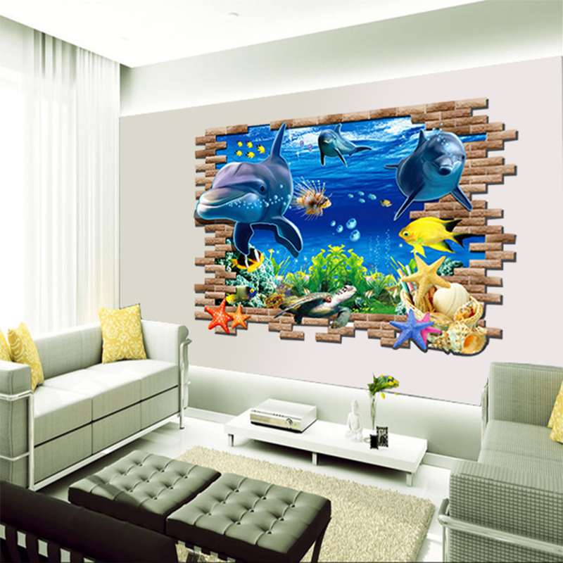 DIY Beautiful Sea World Dolphin 3D Wall Art Window Sticker Vinyl Decal Home Decor-in Wall Stickers from Home u0026 Garden on Aliexpress.com | Alibaba Group & DIY Beautiful Sea World Dolphin 3D Wall Art Window Sticker Vinyl ...