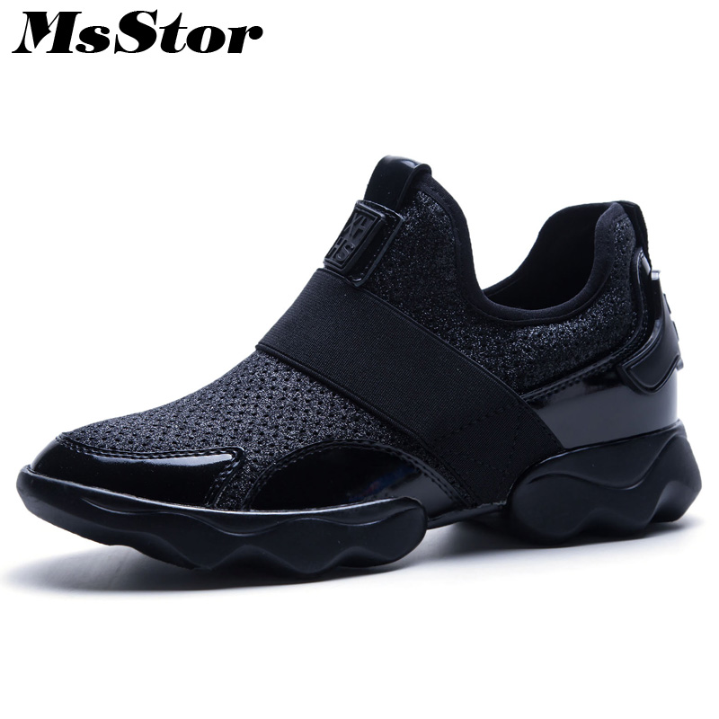 MsStor Round Toe Air Mesh Women Flats Casual Fashion Ladies Flat Shoes 2018 New Spring Platform Women Flats Brand Sneakers Shoes instantarts cute glasses cat kitty print women flats shoes fashion comfortable mesh shoes casual spring sneakers for teens girls