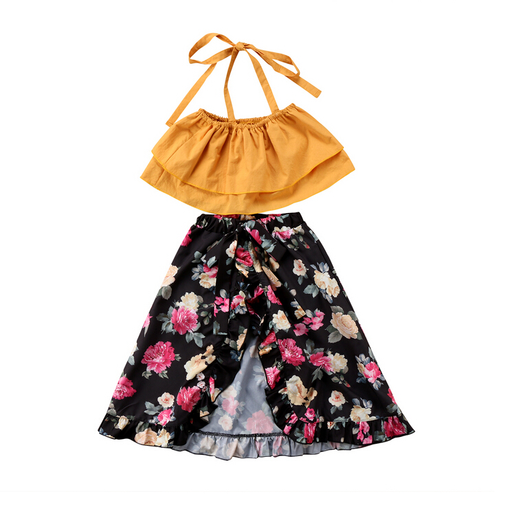 Baby Kids Girls Sisters Summer Floral Matching Outfits Yellow Strap Tops Blouse Flower print Shorts Skirts Outfits Set Clothes