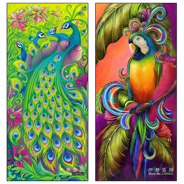 5D Diy Berlian Lukisan kerajinan Hewan Burung  Merak  Dan