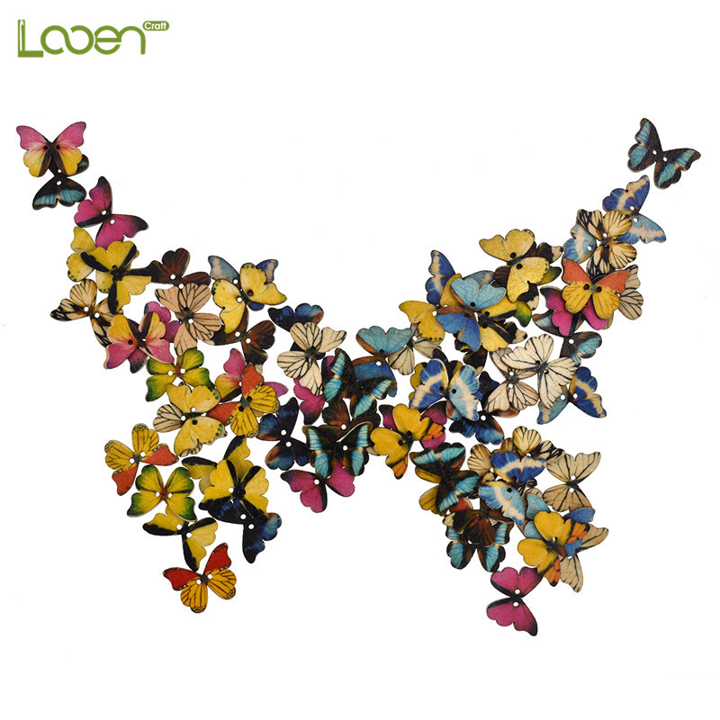 100Pcs Bulk Sewing Wooden Buttons 2 Holes Butterfly Shaped Buttons For Children Clothes Decorative Button Scrapbooking Accessory in Buttons from Home Garden