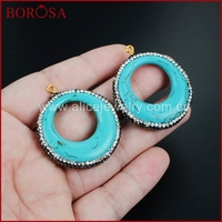 BOROSA Rhinestone Pave Circle Blue Natural How-lite Greenish Sky Blue Stone Charm for Fashion Jewelry JAB541