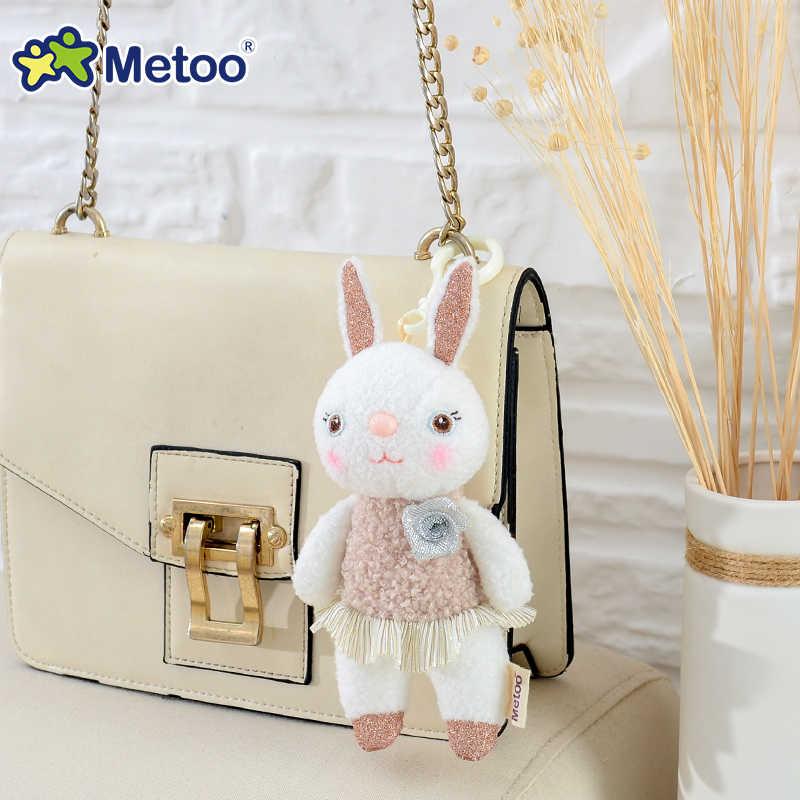 دمية صغيرة Metoo محشوة لعب الحيوانات القطيفة الناعمة لعب اطفال ورضيع للفتيات الفتيان Kawaii مصغرة أنجيلا أرنب قلادة المفاتيح