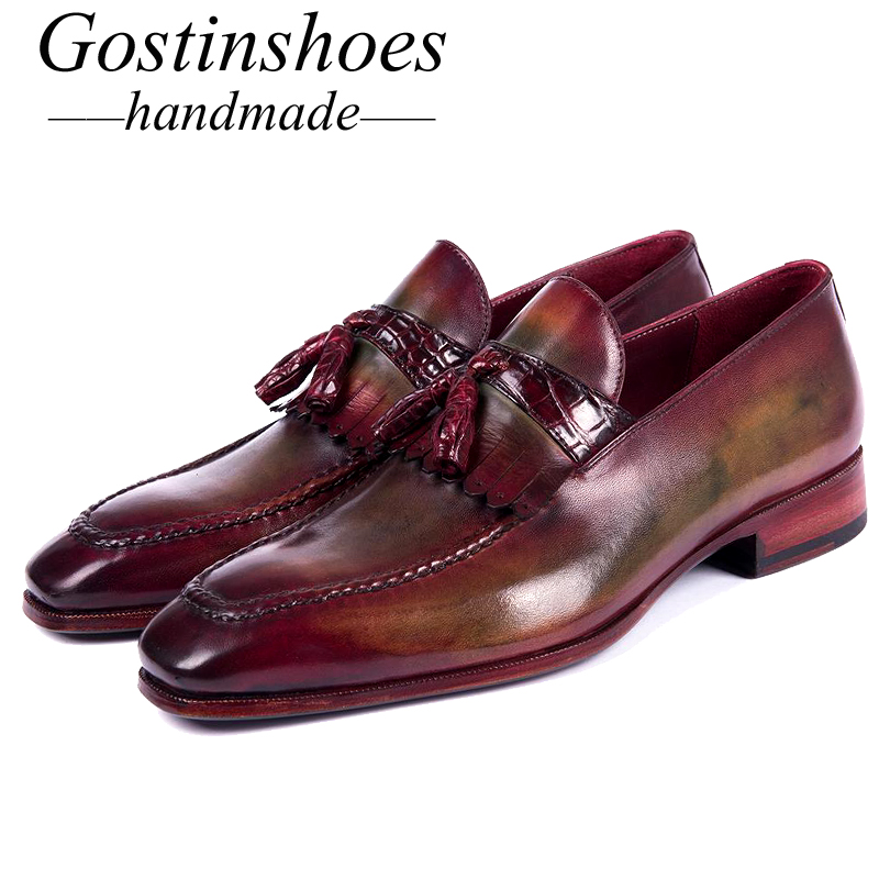 GOSTINSHOES HANDMADE Goodyear Welted Shoes Bordeaux Green Calfskin Crocodile Tassel Loafers Luxury Italy Mens Casual Shoes SCF9GOSTINSHOES HANDMADE Goodyear Welted Shoes Bordeaux Green Calfskin Crocodile Tassel Loafers Luxury Italy Mens Casual Shoes SCF9