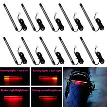 10pcs Universal Flexible Motorcycle Light Strip 8 Soft 48 LED Tail Brake Stop Turn Lamp Motorcycle Accessories