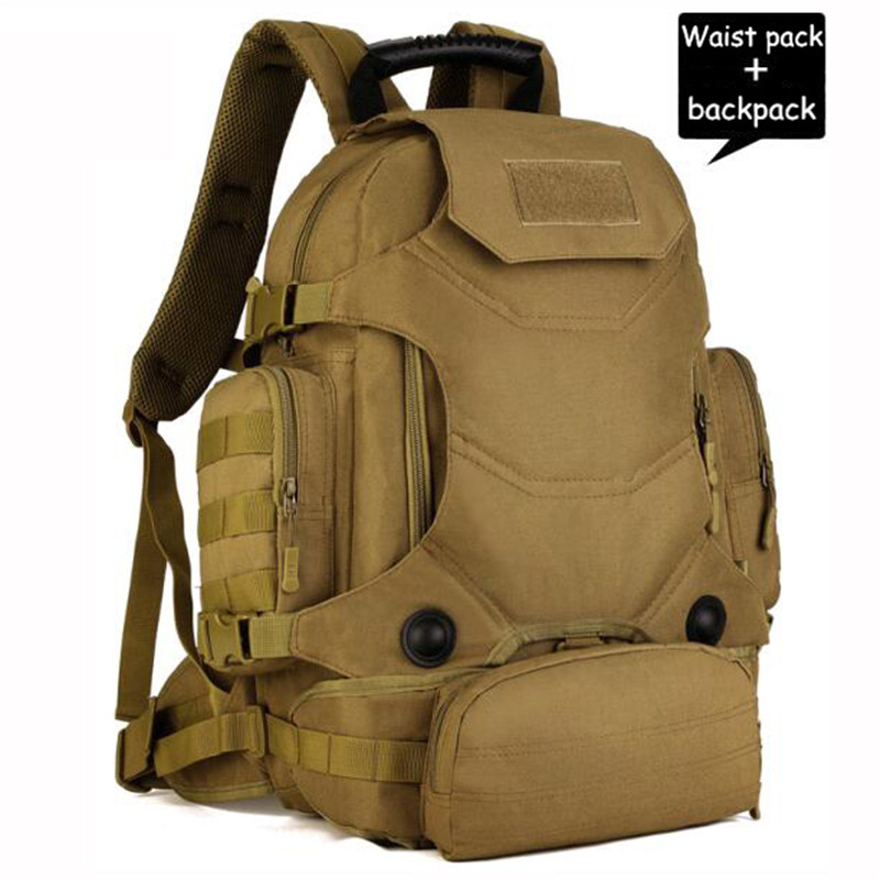40L Men Molle Military Backpack Waterproof Nylon Women Travel Rucksack Male Casual Laptop Back Bag Black School Bags Teenagers men military backpack bag male waterproof nylon camouflage laptop bags men s multifunction casual travel rucksack black army bag