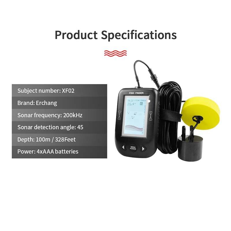 Handheld com Fio Dispaly Fste Findfish Sonar Portátil