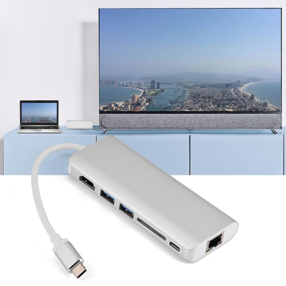 6 In 1 Type-C to 4K HDMI RJ45 Ethernet SD Card Reader 2 Port USB 3.0 Hub Adapter Converter for MacBook