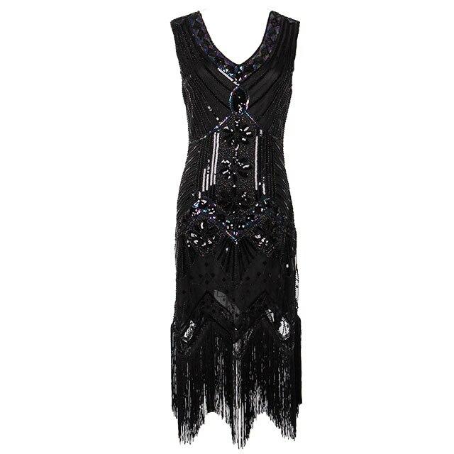 Women 1920 s Vintage Great Gatsby Dress Sequins Dress V-Neck Tassels Bodycon Beaded Party Dress Flapper Dresses Art Deco Double 7