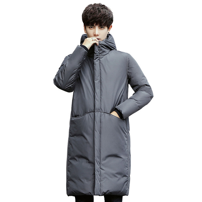 New thick winter men's white   down   Jacket brand clothing hooded black Gary long warm white duck   down     coat   male   coats   90wy